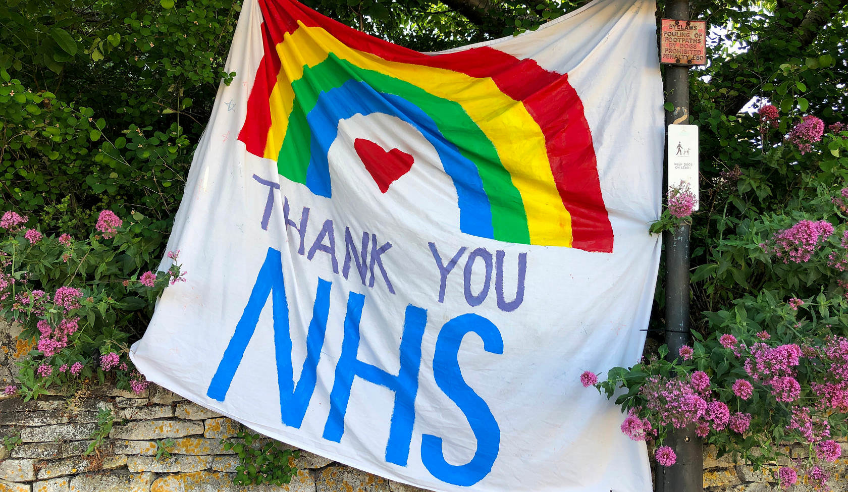 Photograph of a painted 'Thank You NHS' banner, used during the Corona Virus pandemic